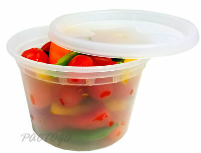 240 Sets - 16 oz. Plastic Deli Food/Soup Container Heavy Duty Pint Microwavable