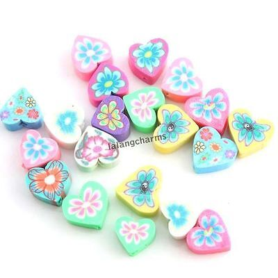 100x 110945 New Mixed Color Assorted Heart Flower FIMO Polymer Clay Beads