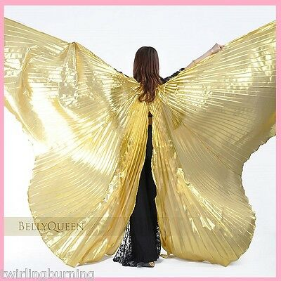 Belly Dance Isis Wings with a Slit 【+2 Wooden Sticks】 Dancing Costume AA01/S