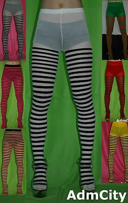Spandex Stripes Tights Pantyhose Red Green Black Yellow White Purple Pink Gray