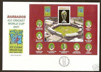 BARBADOS 2007 Famour Cricketers SOBERS ICC CRICKET WORLD CUP Souv Sheet FDC