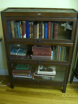 Lundstrom Antique Barrister/Lawyer (3) Tier Bookcase-Good Condition