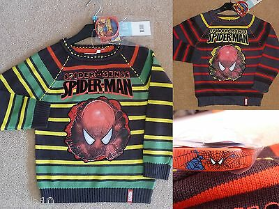 Boys MARVEL SPIDERMAN jumper black or grey FREE wristband Sizes 4 6 8 & 10 years