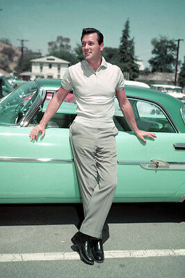 Rock Hudson 24X36 Poster Classic Pose By Green Vintage Sports Car 1950's