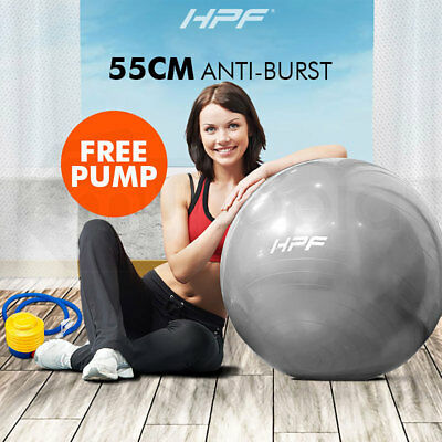 New HPF 65cm Yoga Gym Exercise Ball Pilates Swiss Fitness Workout Grey Foot Pump