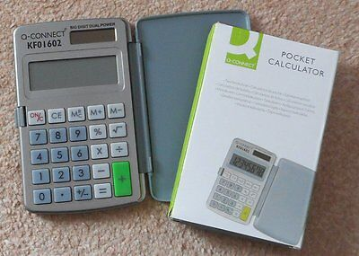 Q-CONNECT 8-digit solar/battery POCKET Calculator KF01602 with cover SENT FAST!