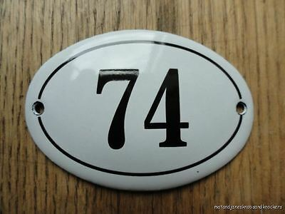 Small Antique Style Enamel Door Number 74 Sign Plaque House Number Furnituresign