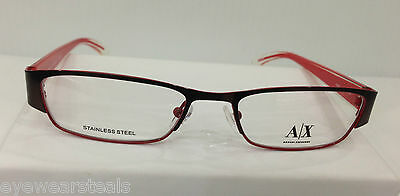 86e3c2bf6b69 Armani Exchange AX227 0YPA Brown Metal Eyeglasses Frame 50-17-135 New  Authentic