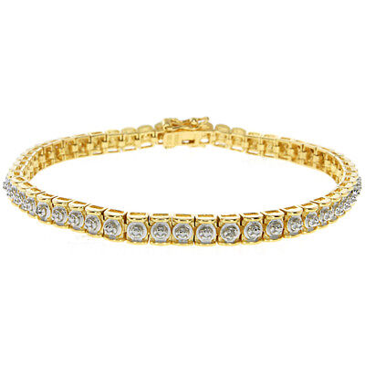Diamond Accent 2-Tone 925 Silver Gold Plated Tennis Bracelet 7.5""