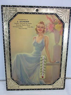 Vintage J Scherr Groceries Market House Advertising Thermometer Akron OH