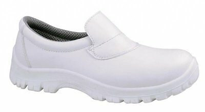 Food Industry/chef's/catering/hospital White & Black Slip On Safety Shoes 3-12