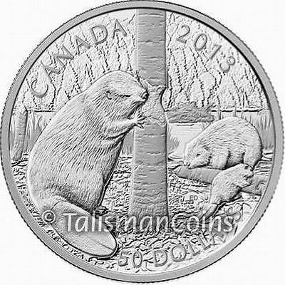 Canada 2013 Beaver Family $50 Five 5 Oz Ounce Pure Silver Proof in Full OGP