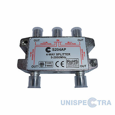 4 WAY SPLITTER TV CABLE NTL SKY VIRGIN DBOX SATELLITE 5-2050MHz WITH DC PASS