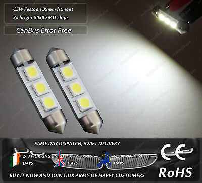 2x 39mm LED CanBus No Error Free HID White 239 272 Number Licence Plate Bulbs