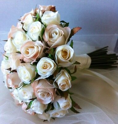 Ivory &champagne Roses Posy 45 Buds Wedding  Bouquet Artificial Silk Flower