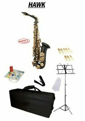 Hawk Black Alto Saxophone Package, Case, Reeds, Music Stand, Cleaning Kit