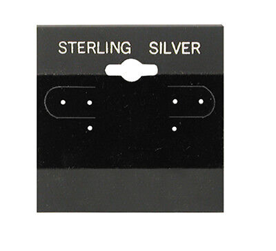 """100Pc Black Sterling Silver Hanging 2"""" x 2"""" Earring Card Lip Jewelry Display"""