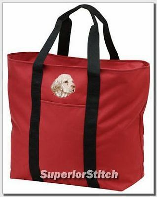 CLUMBER SPANIEL embroidered tote bag ANY COLOR