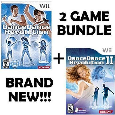 Wii DDR Dance Dance Revolution I 1 & II 2 (GAME ONLY BUNDLE) Kids/Family NEW!