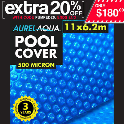 NEW Aurelaqua 11x6m - Solar Swimming Pool Cover Outdoor Heater Bubble Blanket