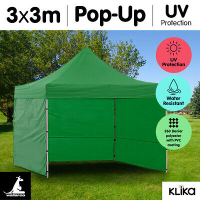 GREEN 3x3 WALLAROO POP UP OUTDOOR GAZEBO FOLDING TENT PARTY MARQUEE SHADE CANOPY