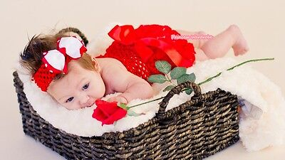 Xmas Baby Red Rose Bloomer Pantie Crochet Tube Top Red Bow Headband 3PC NB-3Year