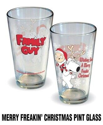 The Family Guy Merry Freakin' Christmas 16 oz Illustrated Pint Glass NEW UNUSED