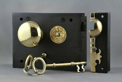 """Carpenter""  Rim Lock-Left Hand-Small-Victorian Box Style-Including Knobset-New"