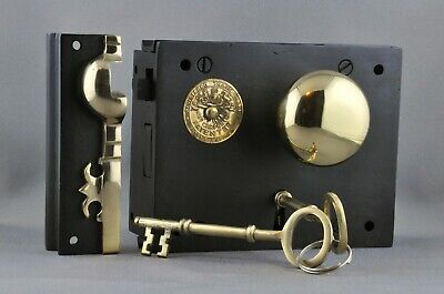 """Carpenter""  Rim Lock-Right Hand-Small-Victorian Box Style-Including Knobset-New"