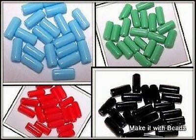 10mm Solid Colour Glass Tube Beads Red Blue Green Black Jewellery Making Craft