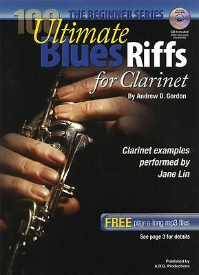 100 Ultimate Blues Riffs Beginner Clarinet Learn to Play Jazz Music Book & CD