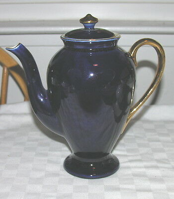 """Steubenville Cobalt & Gold Coffee Pot & Lid 8"""" tall Approx 5 Cup Capacity 1183"""