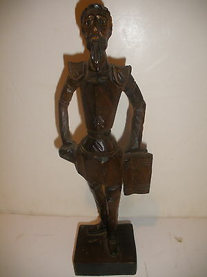 Antique vintage Don Quixote de La Mancha wood wooden figure 10""