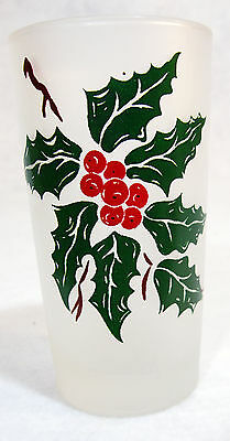 Libbey Frosted Christmas Holly Glass Tumblers