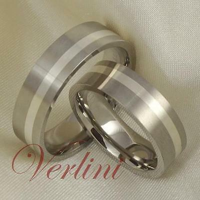6MM Titanium Rings Silver Inlay Wedding Bands Set Bridal Jewelry Gift Size 6-13