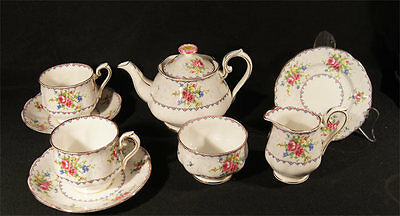 1933 Royal Albert England 8 Pce Petit Point Tea For 2 Set T/pot 2 Duos Jug Bowl