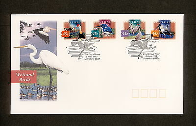 1997 FDC1690 WETLAND BIRDS Peel & Stick First Day Cover