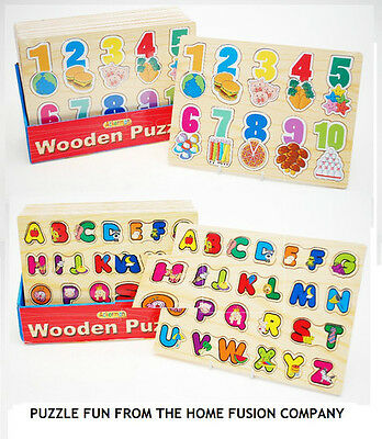 Childrens Kids Learning Wooden Letters ABC Alphabet or 123 Numbers Puzzle Toys
