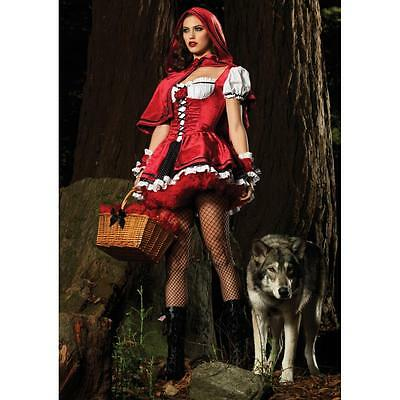 Sexy Little Red Ridding Hood Cosplay Halloween Adult Costume Fancy Dress Party
