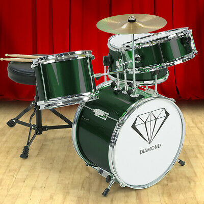NEW CHILDRENS 4 PIECE GREEN DIAMOND DRUM KIT SET MUSICAL INSTRUMENT ,kids