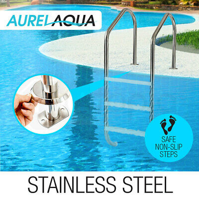 AURELAQUA Swimming Pool Ladder 3 Wide In-Ground Stainless Non-Slip Steps