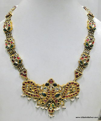 Vintage antique 20K Gold Diamonds Rubies and Emerald necklace pendant india