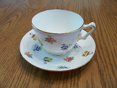 Petite Flowers Cup & Saucer....Crown Staffordshire