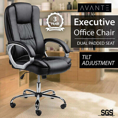 AVANTE Executive Premium Office Computer Chair PU Leather Recliner Seat Black