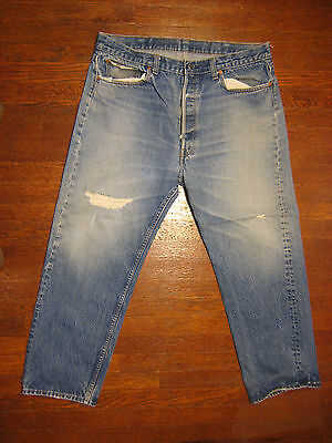 4097 Used blue jeans 501 40x30 frayed holes made in the U.S.A.