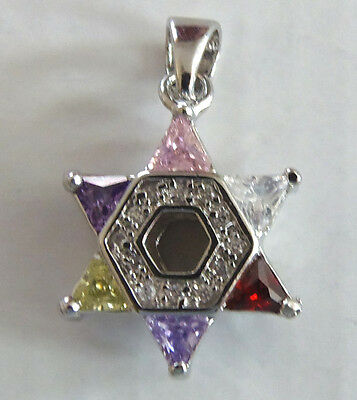 Jewish 12 Tribes of Israel Silver Star of David  Colored CZ's  Both Sides