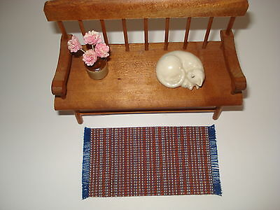 "Dollhouse -  Orange & Blue Striped Rug with fringe  2"" by 4 """