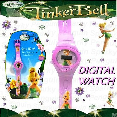 100% Authentic Disney Fairies Tinker Bell Digital Watch Pink Girls Childs Lcd