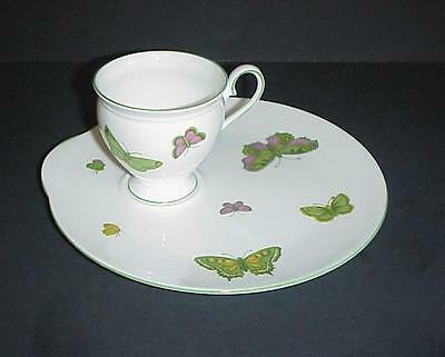 Crown Staffordshire Lunch Snack Set Cup & Plate Butterflies