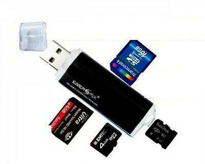 Schwarz Mini Alu Kartenleser USB 2.0 Micro SD MMC SDHC M2 Card Reader Adapter